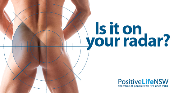 A radar image across the buttocks of a man with the words - Is it on your radar?