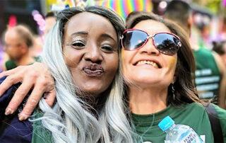 Two women at a Mardi Gras
